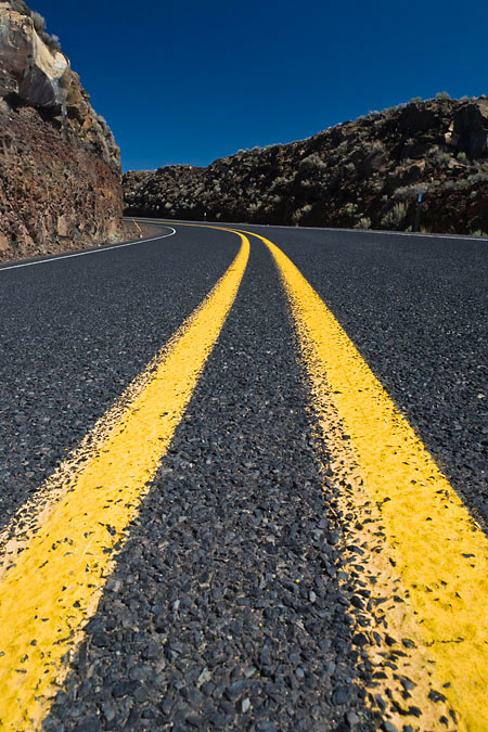 Highway 205 centerline in the Oregon high desert