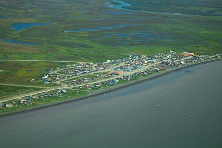 Togiak, Alaska, aerial view