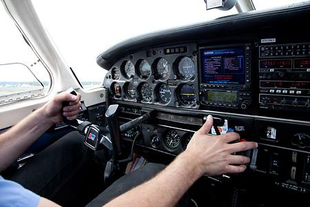 Piper airplane cockpit