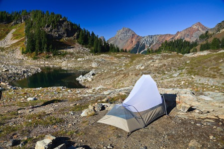 Tent in Yellow Aster Basin
