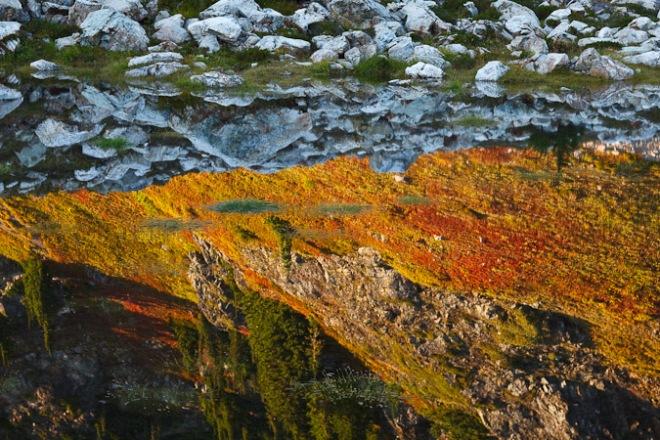 Subalpine lake with autumn reflections near Mt. Baker