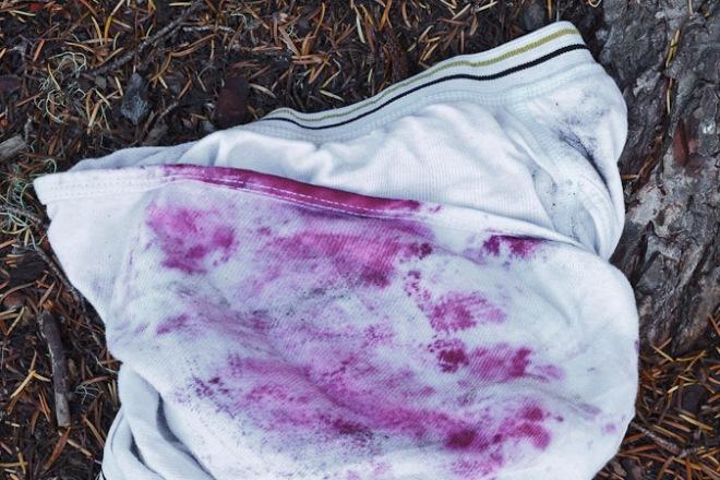 Blueberry-stained underwear