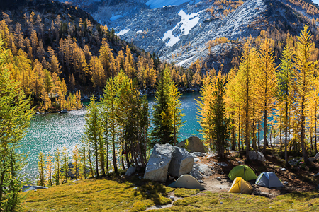 Autumn Campsite on Perfection Lake in The Enchantments