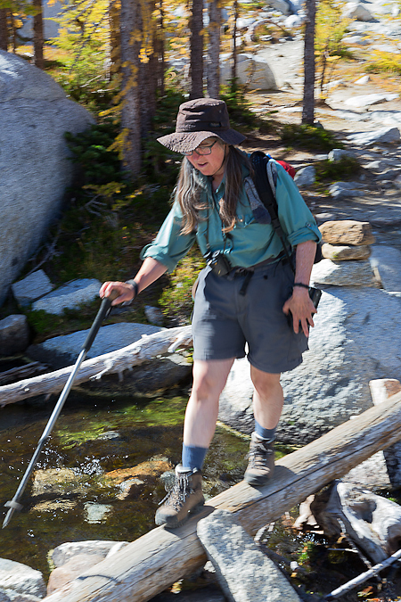 Karen Rentz Crossing Log over Creek in The Enchantments