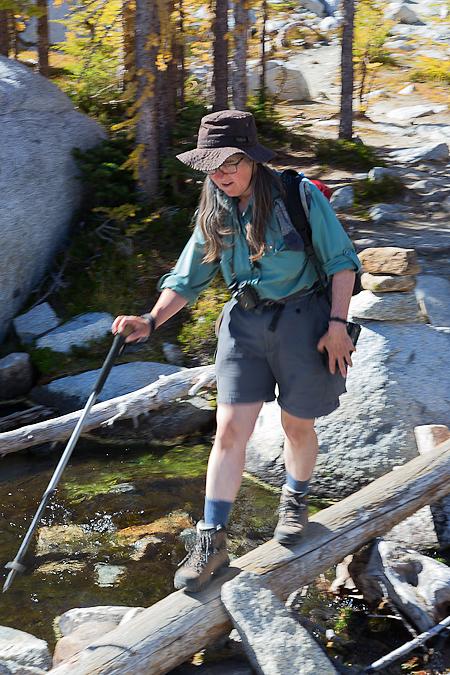 Karen Rentz Crossing Log over Creek in The Enchantments