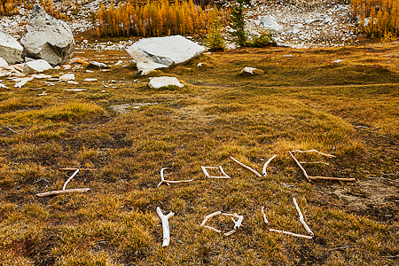 """I Love You"" Message Made of Twigs in The Enchantments"