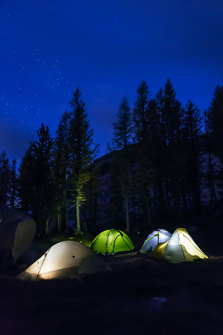 Tents Lit Up at Deep Twilight in The Enchantments