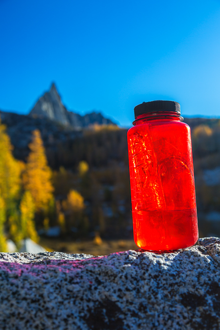 Icy Water Bottle with Prusik Peak in The Enchantments