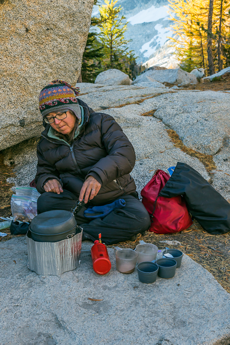Karen Rentz Cooking Breakfast in The Enchantments
