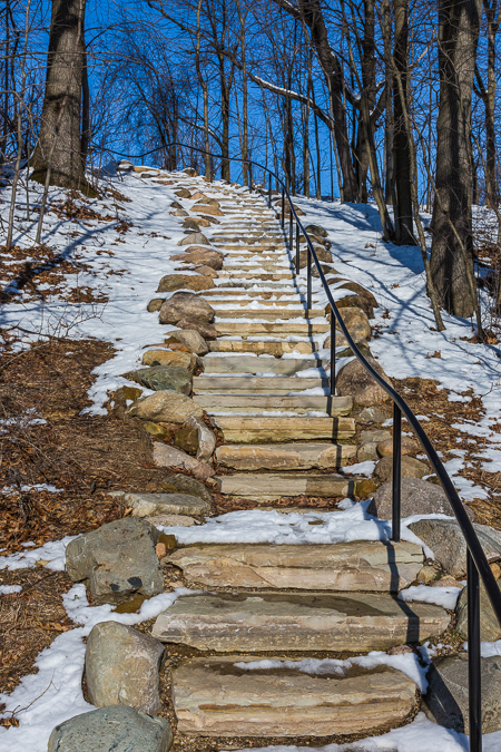 Limestone Steps in Historic Bridge Park in Calhoun County, MI