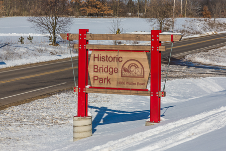 Entrance Sign for Historic Bridge Park in Calhoun County, MI