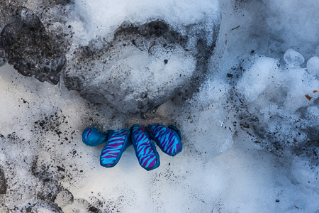 Blue Glove in Plowed Snowbank at Mount St. Helens