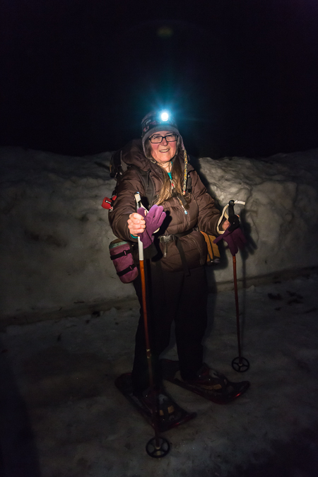 Karen Rentz with Headlamp at Mount St. Helens
