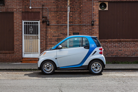 Car2Go Car Sharing Smart Car on a Seattle Street