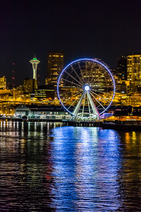 The Seattle Great Wheel and Space Needle on the Waterfront at Ni
