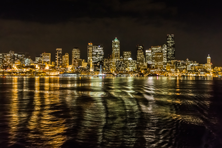 Seattle City Skyline at Night Viewed from a Washington State Fer