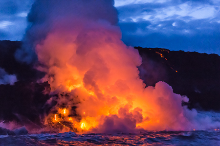 Lava Entering Ocean near Kalapana on Big Island of Hawaii