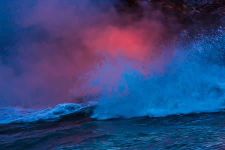 Lava Entering Ocean near Kalapana on Big Island of Hawaii