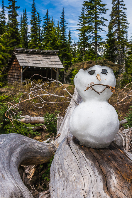 Snowman at Boulder Camp in Olympic National Forest