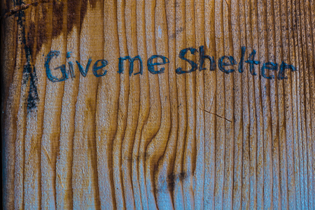 """Give me Shelter"" Graffiti in Boulder Shelter in Olympic Nationa"