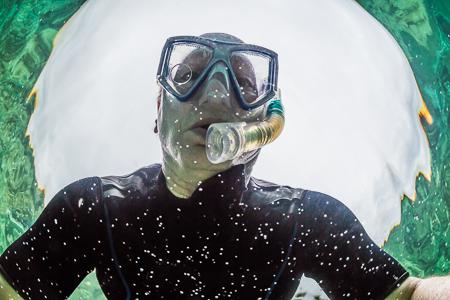 Photographer Lee Rentz Snorkeling off Big Island of Hawaii