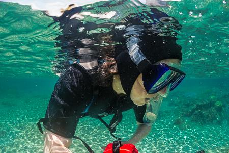Karen Rentz Snorkeling in Kapoho Tide Pools off Big Island of Ha