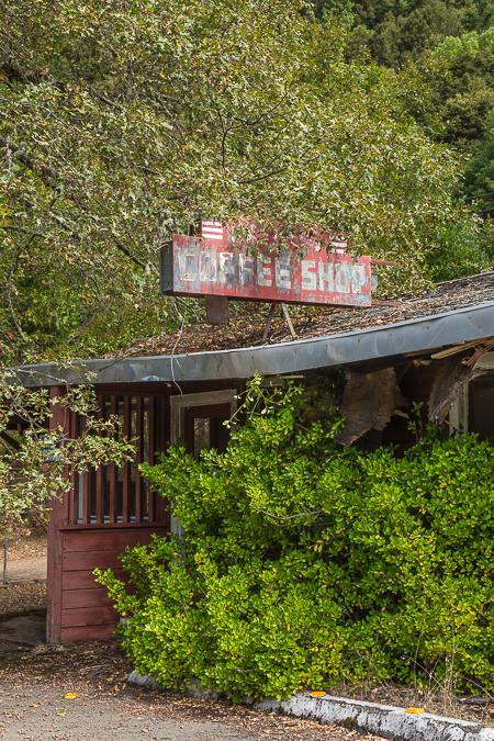 Coffee Shop Closed and Overgrown along US 101 in northern Califo