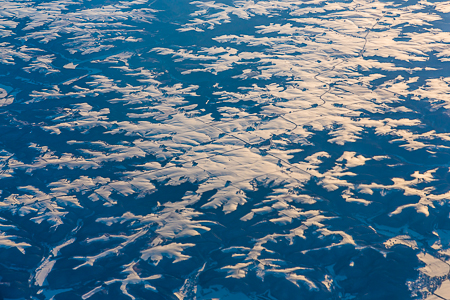 Snowy Pattern on the Great Plains Viewed from Above