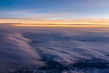 Cloudscape after Sunset During Boeing 757 Flight over Great Plai
