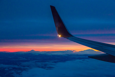 Mt. Adams and Mt. Rainier with Boeing 757 on Approach to Seattle