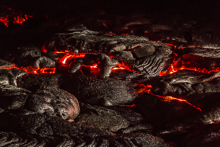 Hot Molten Lava at Night on the Big Island of Hawaii