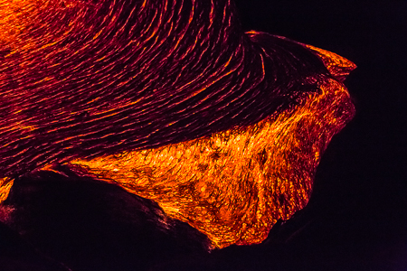 Breakout of Hot Lava at Night on Big Island of Hawaii