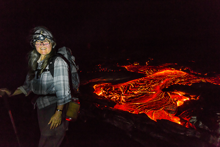 Karen Rentz with Breakout of Hot Lava at Night on Big Island of