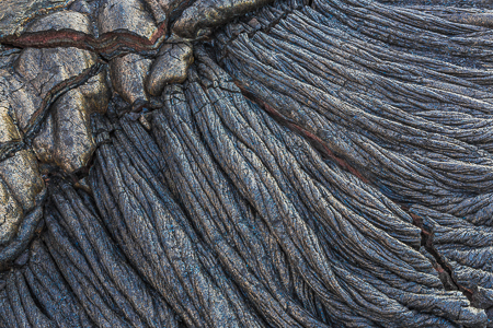 Ropy Pahoehoe Lava at Kalapana on the Big Island of Hawaii