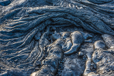 Ropy Pahoehoe Lava at Kalapana on the Big Island
