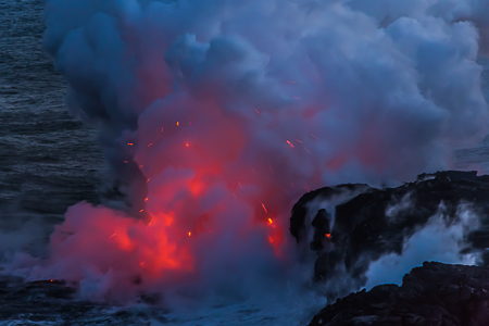 Molten Lava Hissing into the Pacific Ocean off the Big Island of