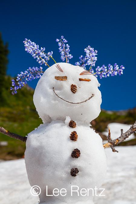 Snowman along Pacific Crest Trail in Goat Rocks Wilderness