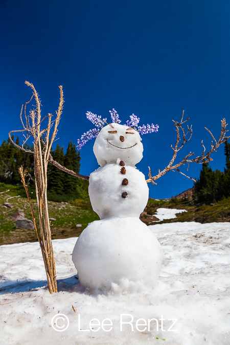 Snowman along Pacific Crest Trail in Goat Rocks Wilderness