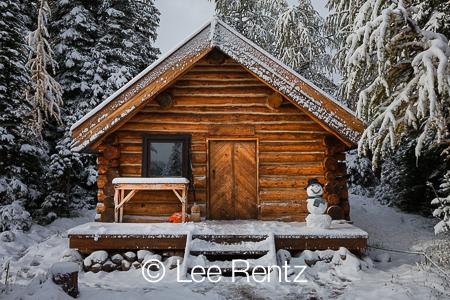Snowman at Naiset Huts in Mount Assiniboine Provincial Park