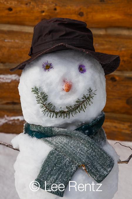 Snowman at Naiset Huts