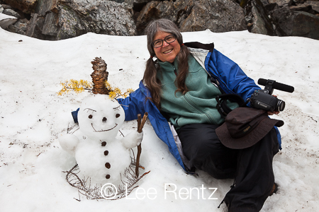 Karen Rentz and Snowman at Melakwa Lake