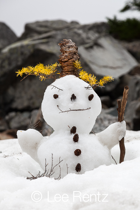 Snowman at Melakwa Lake