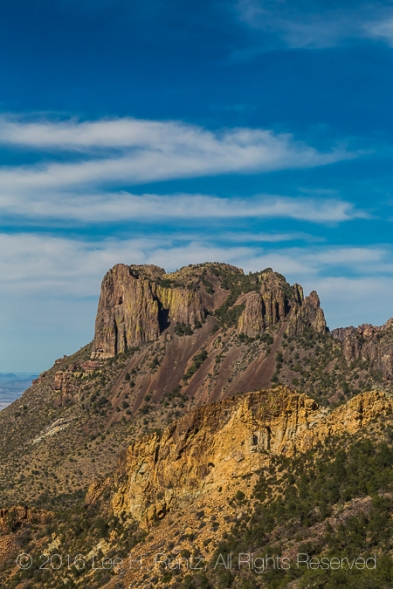 Iconic Casa Grande in the Chisos Mountains, viewed from the Laguna Meadow Trail in Big Bend National Park, Texas, USA