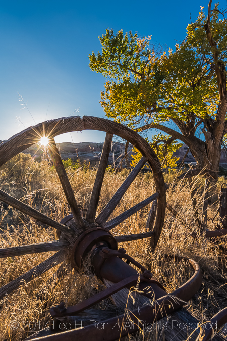 Old wood wagon wheel used for bringing in supplies to Kirk's Cabin, an early ranching outpost, in Salt Creek Canyon in The Needles District of Canyonlands National Park, Utah, USA