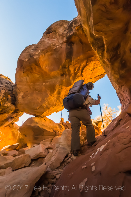 Backpacker in Canyonlands National Park's Salt Creek Canyon