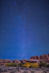 Moonlight illuminating the rock formations, with the Milky Way in the sky, viewed from campsite within Salt Creek Canyon in The Needles District of Canyonlands National Park, Utah, USA