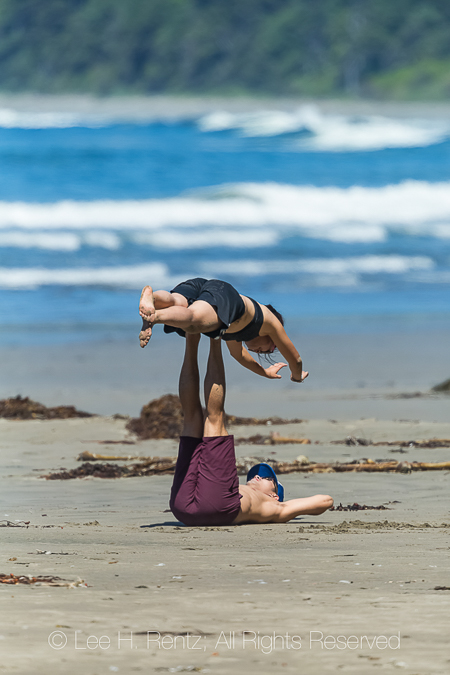 Leg Lift of a Young Woman in Olympic National Park