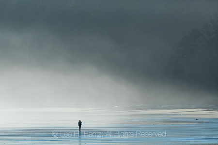 Man Walking on Shi Shi Beach in Olympic National Park