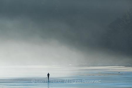Man Walking on Shi Shi Beach in Olympic National Park