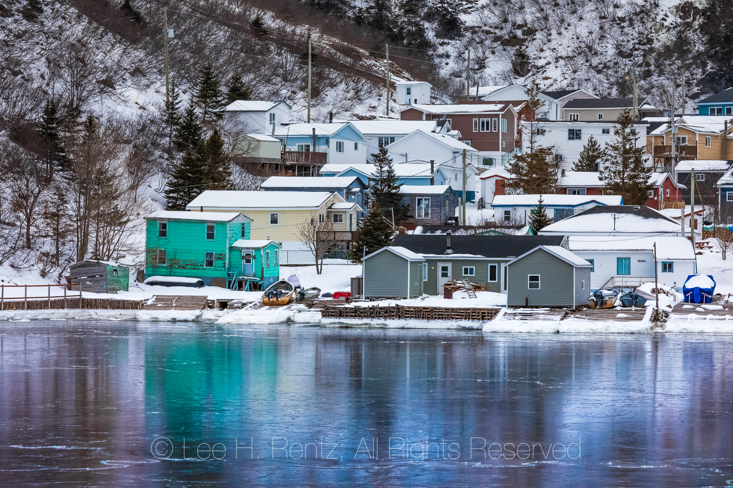 Waterfront and Sea Ice in the Outport of Grey River, Newfoundlan
